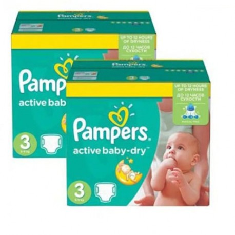 Pampers - Pack jumeaux 816 Couches Active Baby Dry taille 3 sur Les Couches