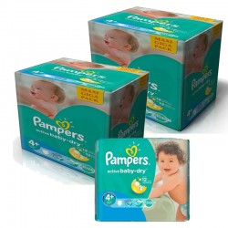 Pampers - Pack jumeaux 600 Couches Active Baby Dry taille 4+ sur Les Couches