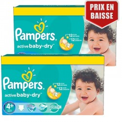 Pampers - Pack jumeaux 760 Couches Active Baby Dry taille 4+ sur Les Couches