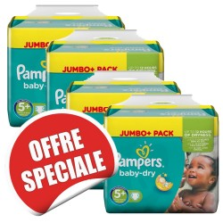 Pampers - Giga pack 286 Couches Baby Dry taille 5+ sur Les Couches