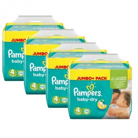 Pampers - Maxi mega pack 400 Couches Baby Dry taille 4+ sur Les Couches