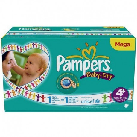 Pampers - Maxi mega pack 480 Couches Baby Dry taille 4+ sur Les Couches