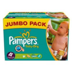 Pampers - Pack jumeaux 720 Couches Baby Dry taille 4+ sur Les Couches