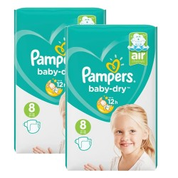 Pampers - Mega pack 100 Couches Baby Dry taille 8 sur Les Couches