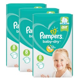 Pampers - Giga pack 200 Couches Baby Dry taille 8 sur Les Couches
