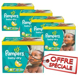 Pampers - Maxi giga pack 340 Couches Baby Dry taille 5+ sur Les Couches