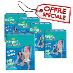 Pampers - Giga pack 294 Couches Active Baby Dry taille 6 sur Les Couches