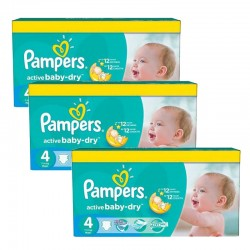 Pampers - 91 Couches Active Baby Dry taille 4 sur Les Couches