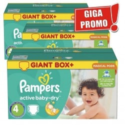 Pampers - 377 Couches Active Baby Dry taille 4 sur Les Couches