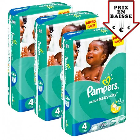 Pampers - Maxi mega pack 403 Couches Active Baby Dry taille 4 sur Les Couches