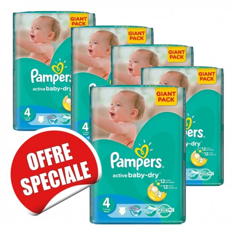 Pampers - 455 Couches Active Baby Dry taille 4 sur Les Couches