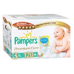 Pampers - Maxi giga pack 340 Couches Premium Care taille 3