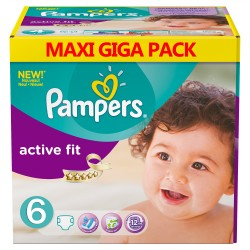 Pampers - Mega pack 128 Couches Active Fit taille 6 sur Les Couches