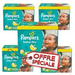 Pampers - Maxi giga pack 325 Couches Baby Dry taille 5+ sur Les Couches