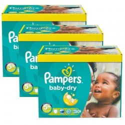 Pampers - Maxi giga pack 375 Couches Baby Dry taille 5+ sur Les Couches