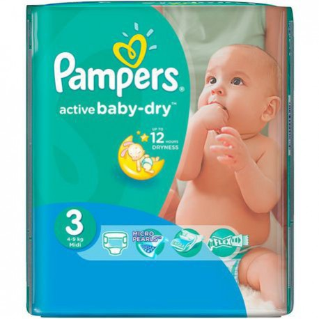 Pampers - Pack 68 Couches Active Baby Dry taille 3 sur Les Couches