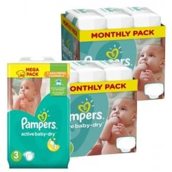 Pampers - Maxi mega pack 408 Couches Active Baby Dry taille 3 sur Les Couches