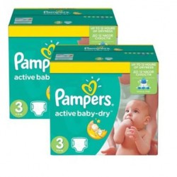 Pampers - Pack jumeaux 612 Couches Active Baby Dry taille 3