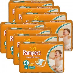 Pampers - Giga pack 204 Couches Sleep & Play taille 4 sur Les Couches
