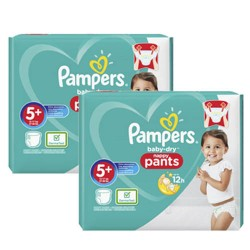 Pampers - Mega pack 136 Couches Baby Dry Pants taille 5+ sur Les Couches