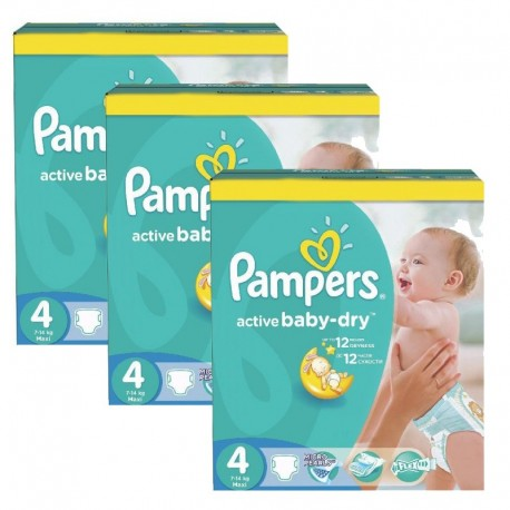 Pampers - Maxi giga pack 372 Couches Active Baby Dry taille 4 sur Les Couches