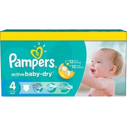 Pampers - Maxi mega pack 496 Couches Active Baby Dry taille 4 sur Les Couches