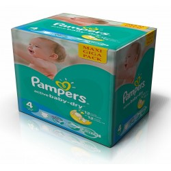 Pampers - Maxi giga pack 343 Couches Active Baby Dry taille 4 sur Les Couches