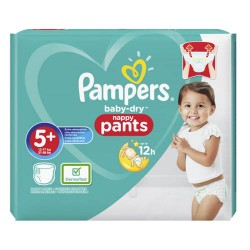 Pampers - Pack 34 Couches Baby Dry Pants taille 5+ sur Les Couches