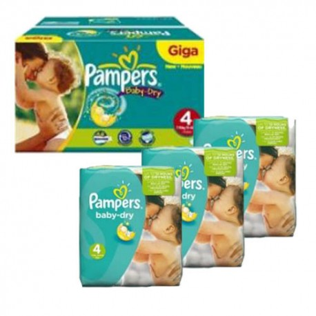 Pampers - Maxi giga pack 330 Couches Baby Dry taille 4 sur Les Couches