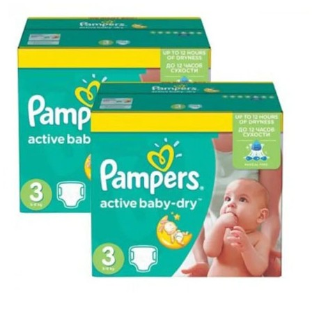 Pampers - Giga pack 232 Couches Active Baby Dry taille 3 sur Les Couches