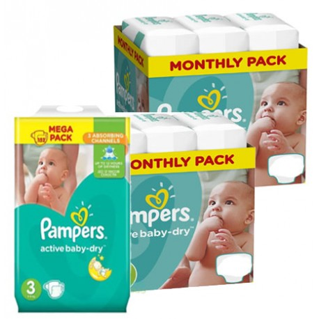 Pampers - Maxi mega pack 406 Couches Active Baby Dry taille 3 sur Les Couches