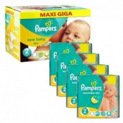 Pampers - Maxi giga pack 380 Couches New Baby Dry taille 2 sur Les Couches