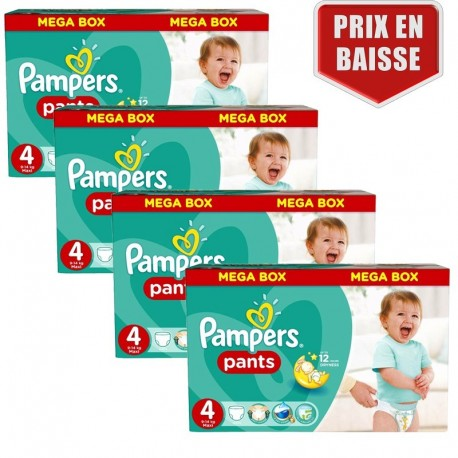 Pampers - Maxi mega pack 480 Couches Baby Dry Pants taille 4 sur Les Couches