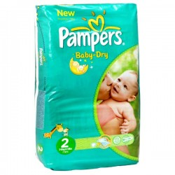 Pampers - 70 Couches Baby Dry taille 2 sur Les Couches