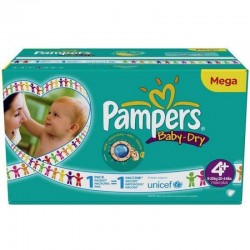 Pampers - Mega pack 155 Couches Baby Dry taille 4+ sur Les Couches