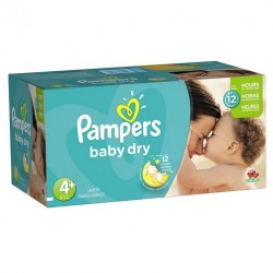 Pampers - Mega pack 186 Couches Baby Dry taille 4+ sur Les Couches