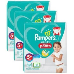 Pampers - Giga pack 216 Couches Baby Dry Pants taille 5+ sur Les Couches