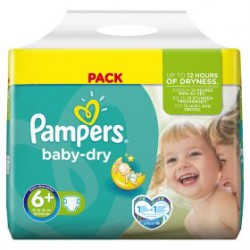 Pampers - 95 Couches Baby Dry taille 6+ sur Les Couches