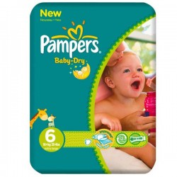 Pampers - 76 Couches Baby Dry taille 6 sur Les Couches
