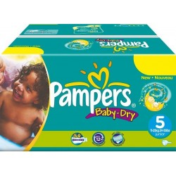 Pampers - Pack 92 Couches Baby Dry taille 5 sur Les Couches