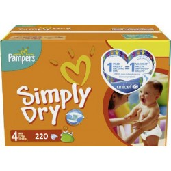 220 Couches Pampers Simply Dry taille 4 taille 5 sur Les Couches