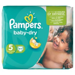 Pampers - Pack 41 Couches Baby Dry taille 5 sur Les Couches