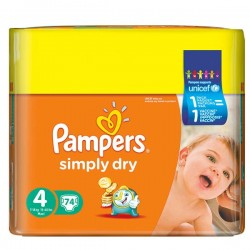Pampers - 74 Couches Simply Dry taille 4 sur Les Couches