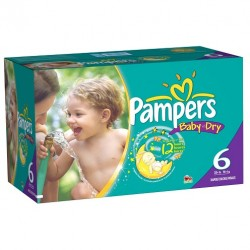 Pampers - Maxi mega pack 456 Couches Baby Dry taille 6 sur Les Couches