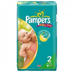 Pampers - 64 Couches Baby Dry taille 2 sur Les Couches