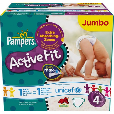 Pampers - 336 Couches Active Fit taille 4 sur Les Couches