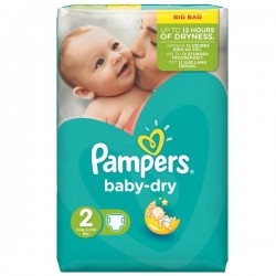 Pampers - 52 Couches Baby Dry taille 2 sur Les Couches