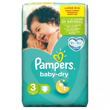 Pampers - Pack 90 Couches Baby Dry taille 3 sur Les Couches