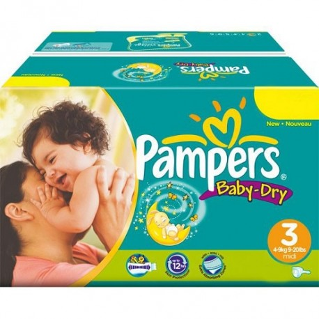 Pampers - Maxi mega pack 450 Couches Baby Dry taille 3 sur Les Couches