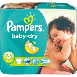 Pampers - 630 Couches Baby Dry taille 3 sur Les Couches